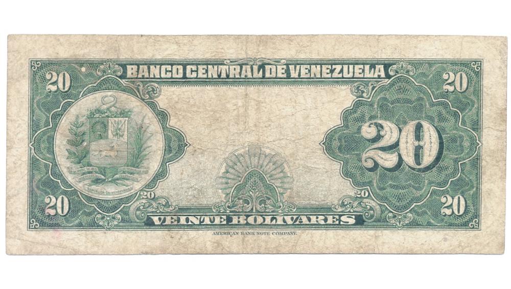 Billete 20 Bolivares 1959 T6 Serial T785827  - Numisfila