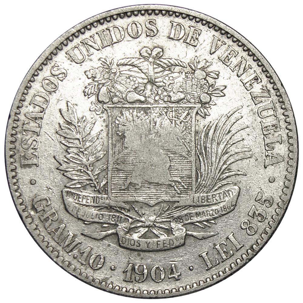Moneda 2 Bolivares 1904 Cero y Cuatro Pequeños  - Numisfila