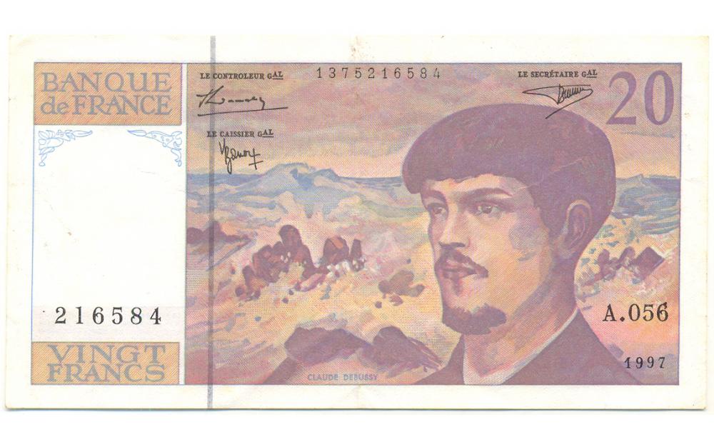 Billete Francia 20 Francos 1997 Debussyn   - Numisfila