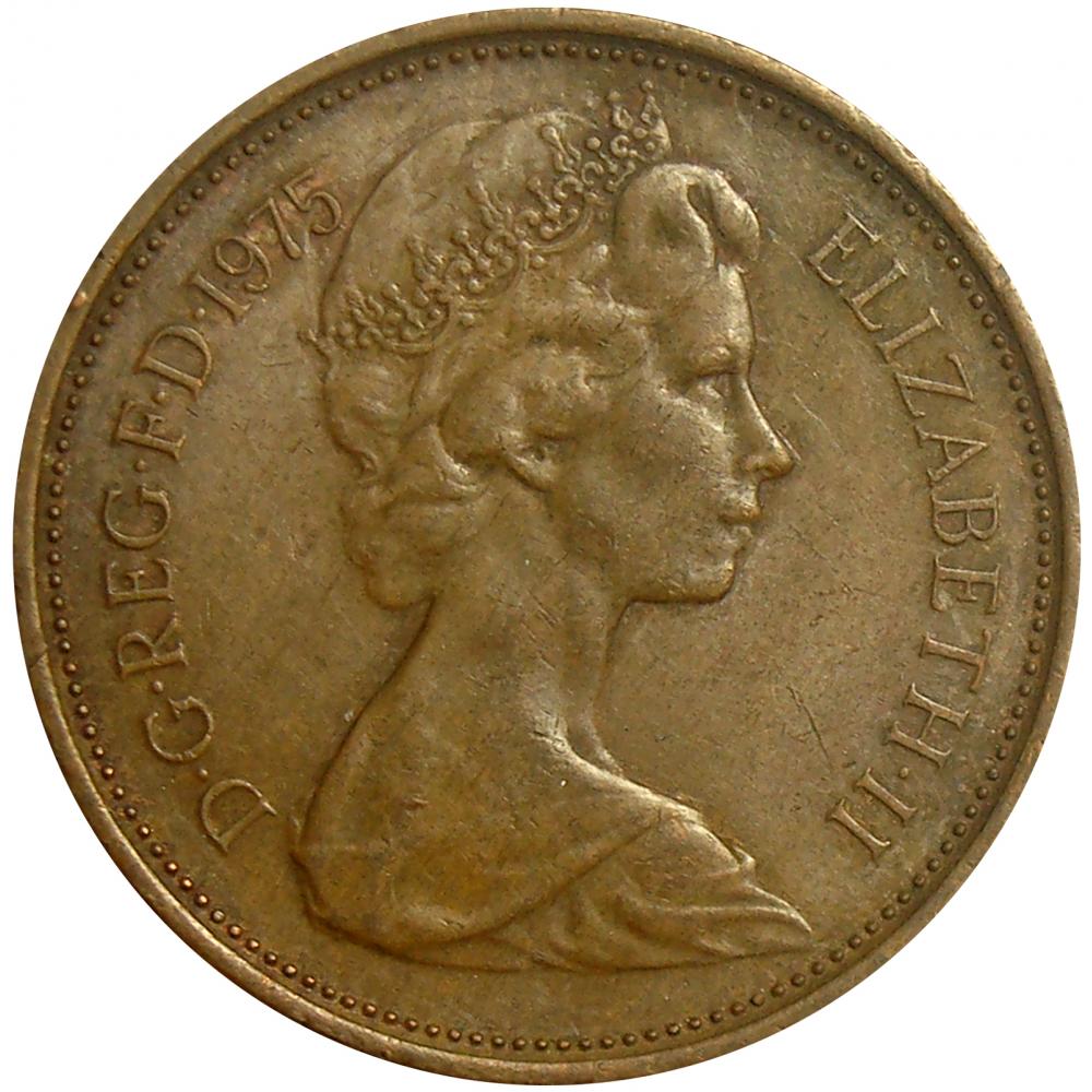 Moneda Gran Bretaña 2 New Pence 1971 - 1975  Elizabeth II  - Numisfila