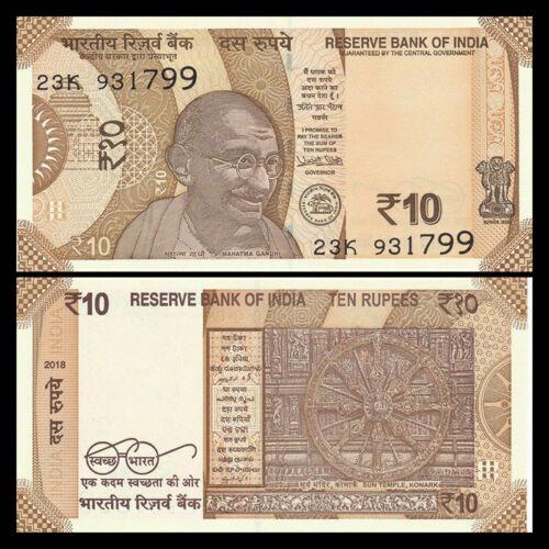 Billete India 10 Rupees 2017 Mahatma Gandhi  - Numisfila
