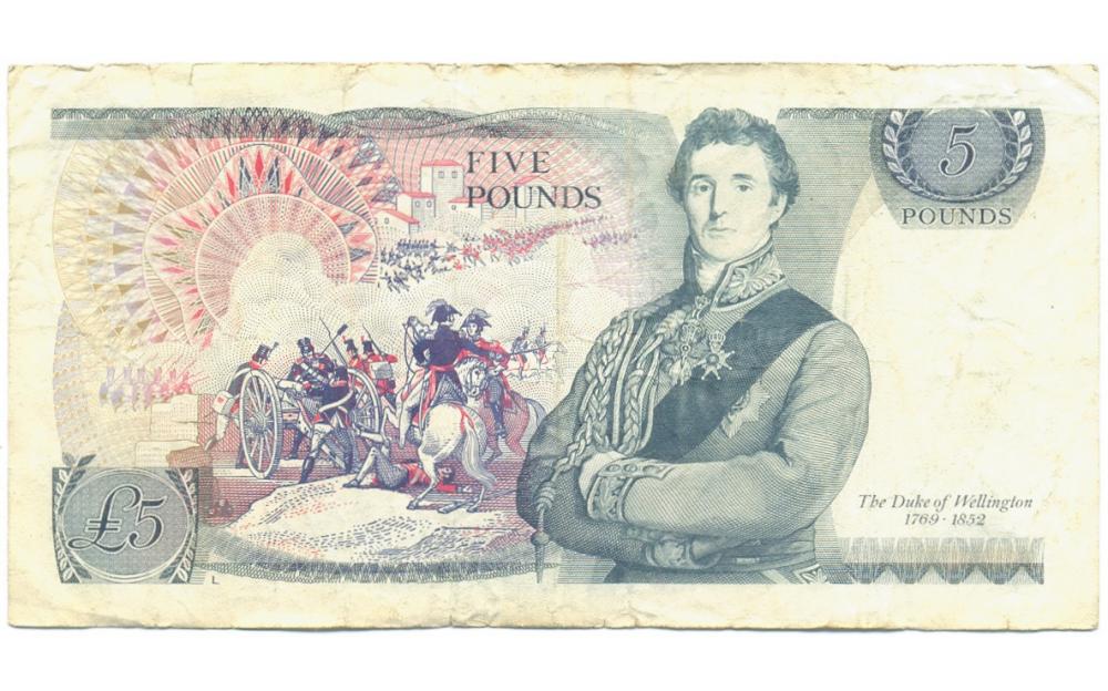 Billete Inglaterra 5 Pounds 1988 Isabel II  - Numisfila