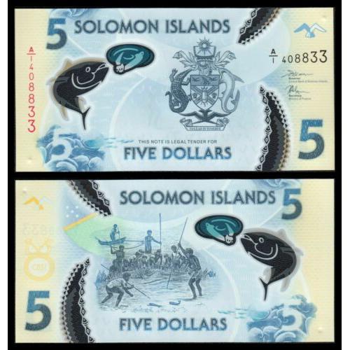 Billete Plastico Islas Salomon 5 Dolares 2019  - Numisfila