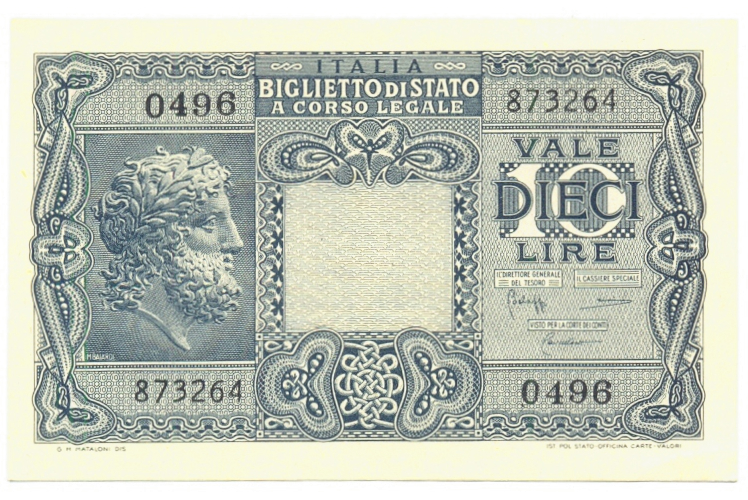 Billete Italia 10 Liras 1944 Jupiter  - Numisfila