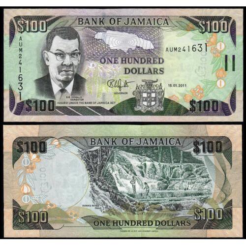 Billete Jamaica 100 Dolares 2011  - Numisfila