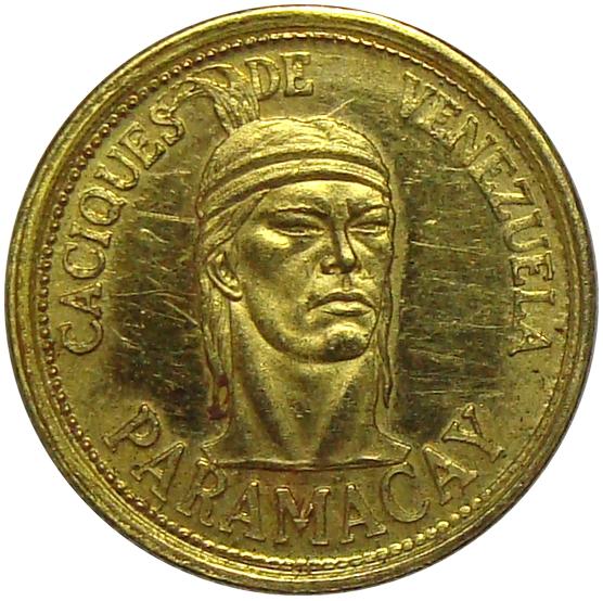 Medalla Oro Paramacay 1 Dinero Caciques de Venezuela   - Numisfila