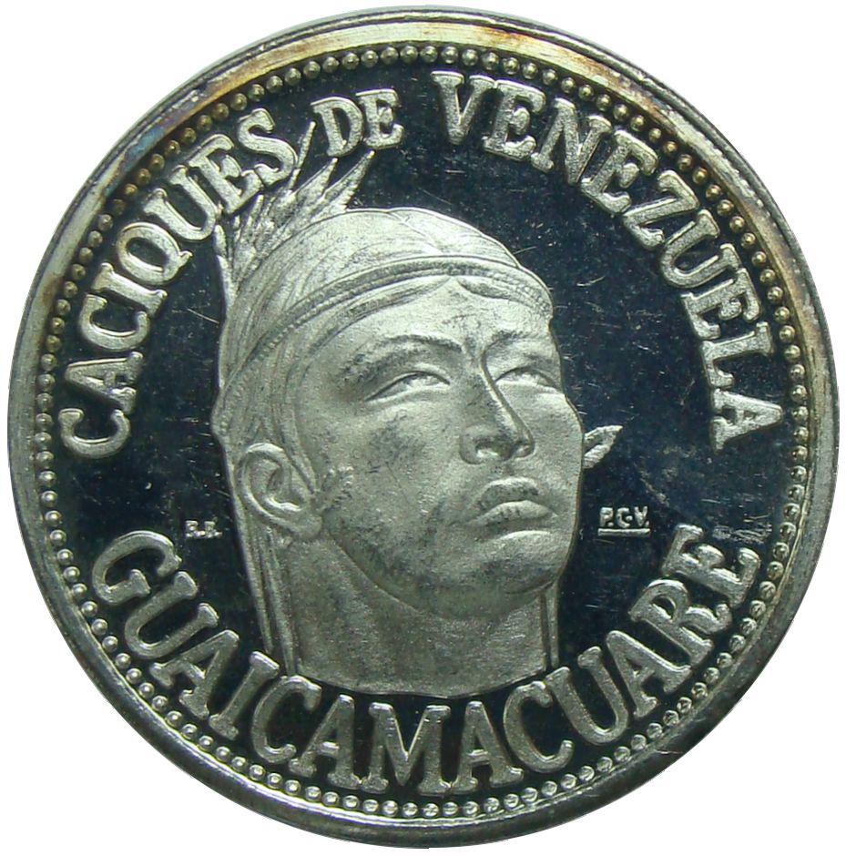 Guaicamacuare Medalla Plata Caciques Venezuela Italcambio  - Numisfila