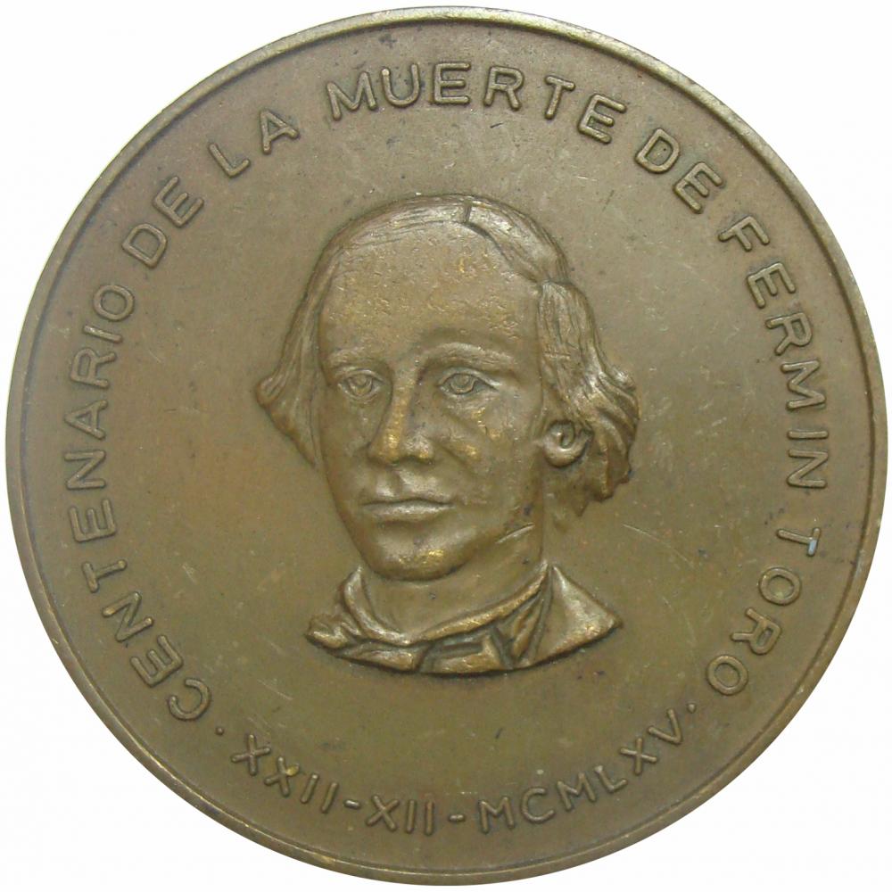 Medalla Centenario Muerte de Fermín Toro 1965  - Numisfila