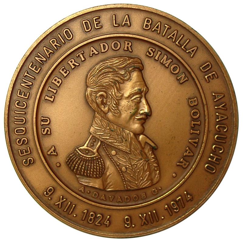 Medalla Batalla de Ayacucho 1974 Simón Bolívar  - Numisfila