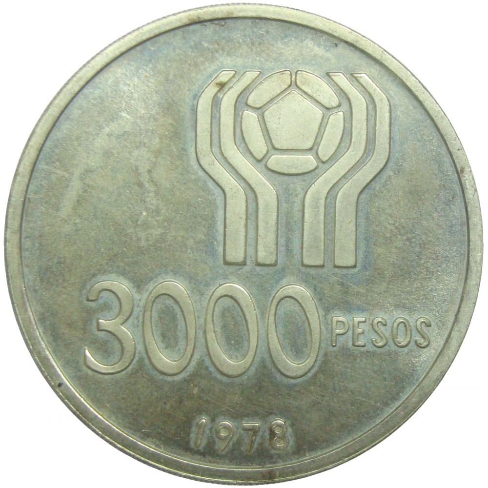 Moneda Plata Argentina 3000 Pesos 1978 Copa Futbol  - Numisfila