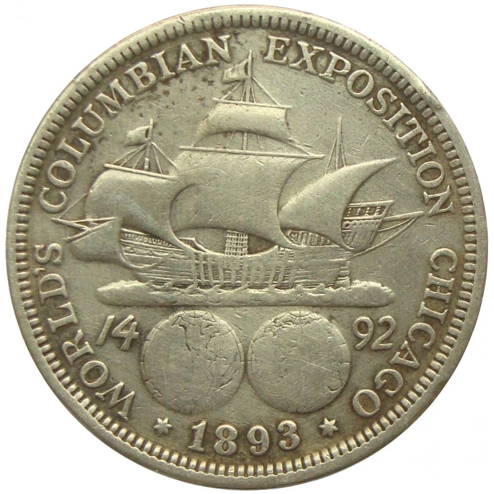 Moneda Plata E.E.U.U. ½ Dólar 1893 Exposicion Mundial Colombina  - Numisfila