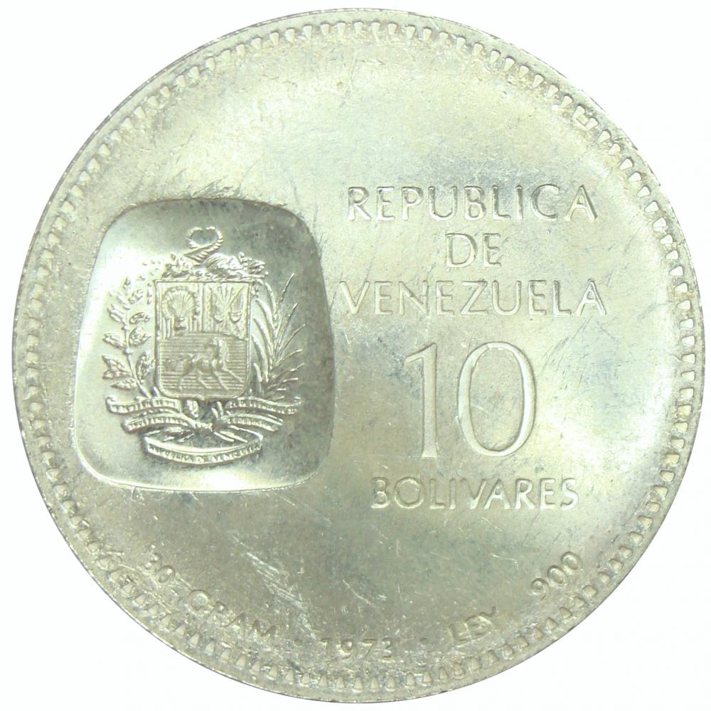Moneda 10 Bolívares 1973 Doblón Canto al Derecho  - Numisfila