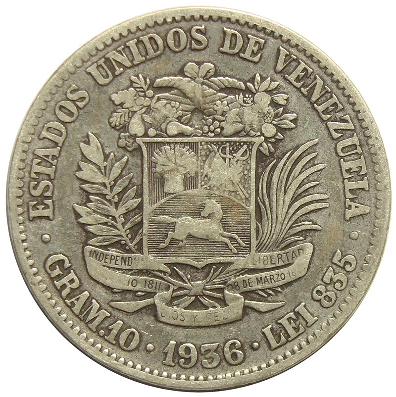 Moneda 2 Bolívares 1936  - Numisfila