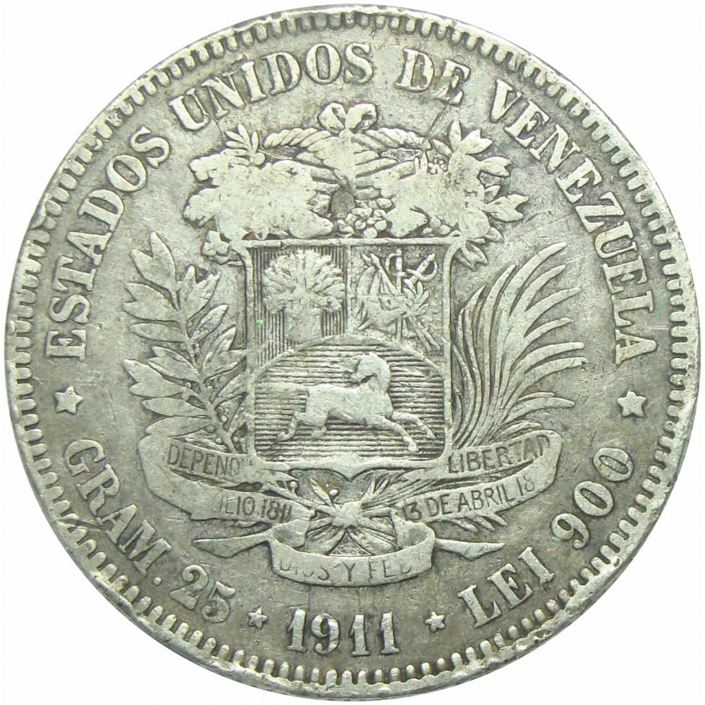 Moneda 5 Bolívares Fuerte 1911 Alineado