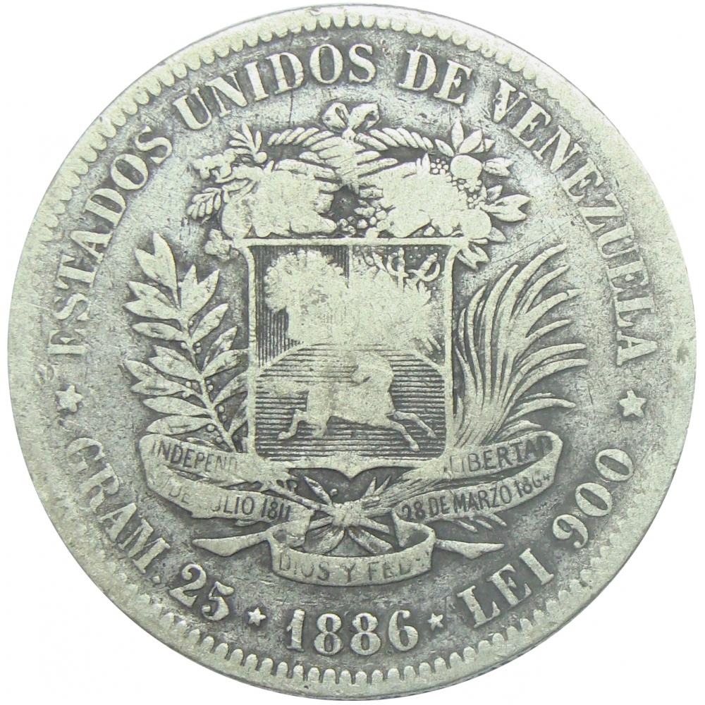 Moneda 5 Bolívares Fuerte 1886 Ancho  - Numisfila