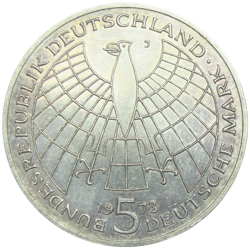 Moneda Plata Alemania Copérnico 5 Deutsche Mark 1973 500 Aniversario Nacimiento  - Numisfila