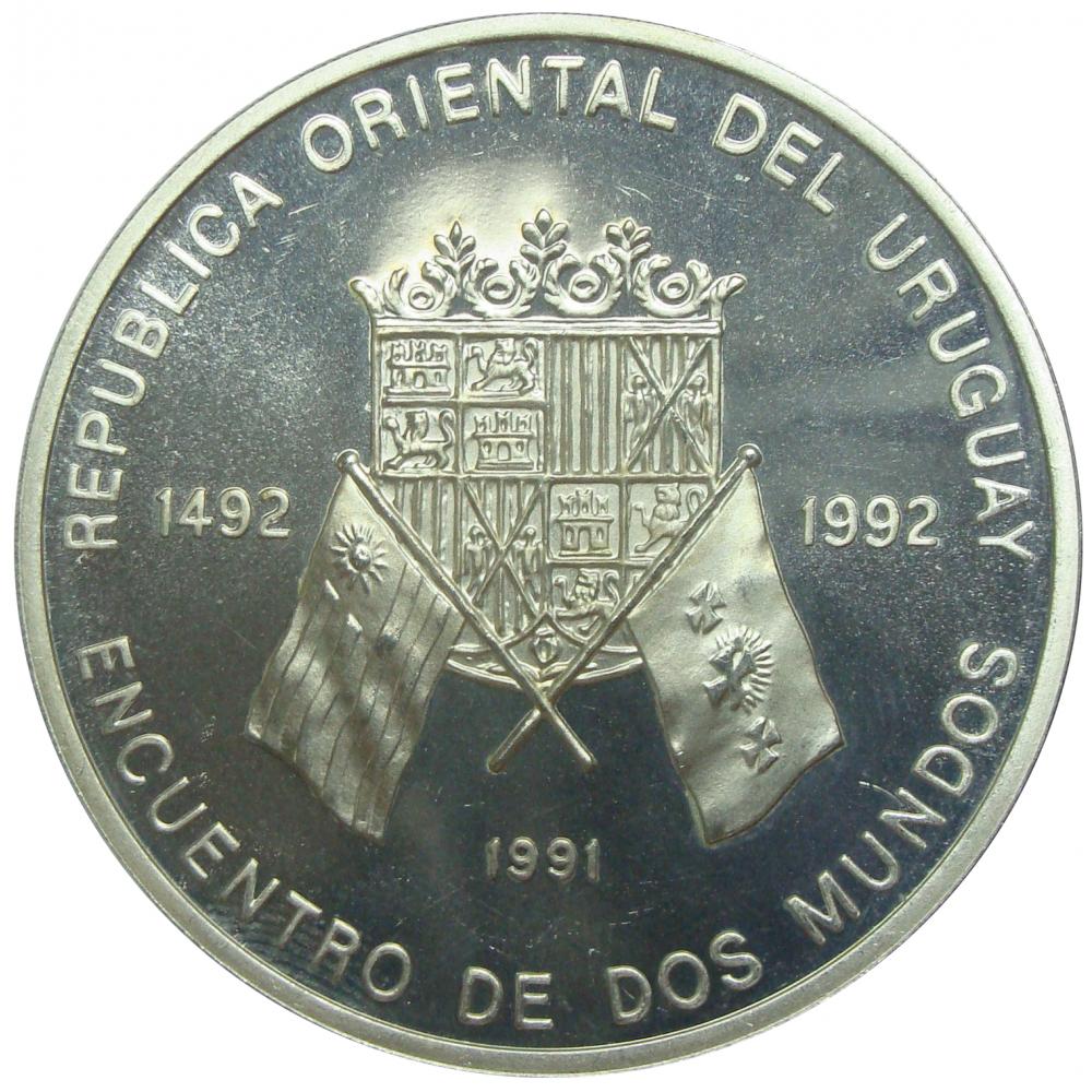 Moneda Uruguay 50.000 Nuevos Pesos 1991 Encuentro de Dos Mundos  - Numisfila