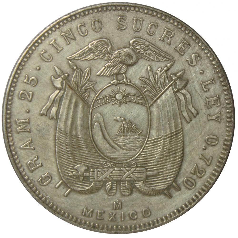 Moneda Ecuador 25 Sucres 1943 Gran Mariscal de Ayacucho  - Numisfila