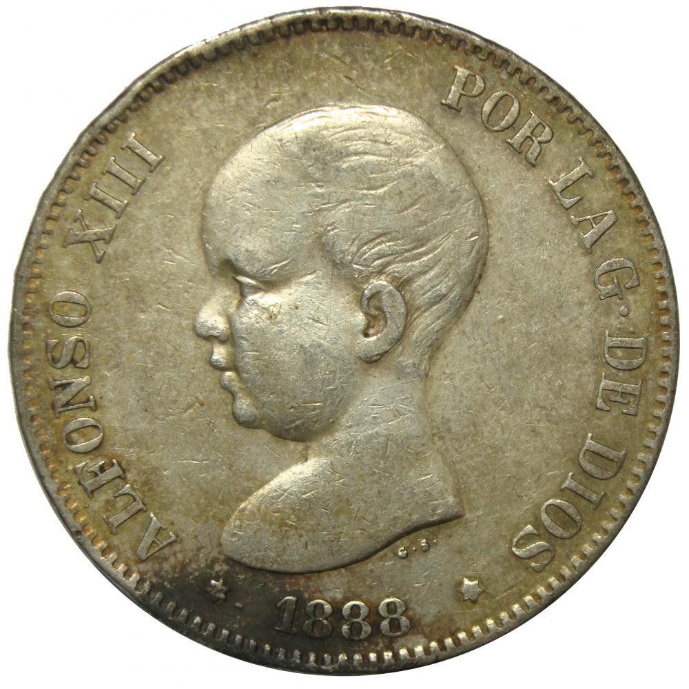 Moneda España 5 Pesetas 1891 Alfonso XIII  - Numisfila