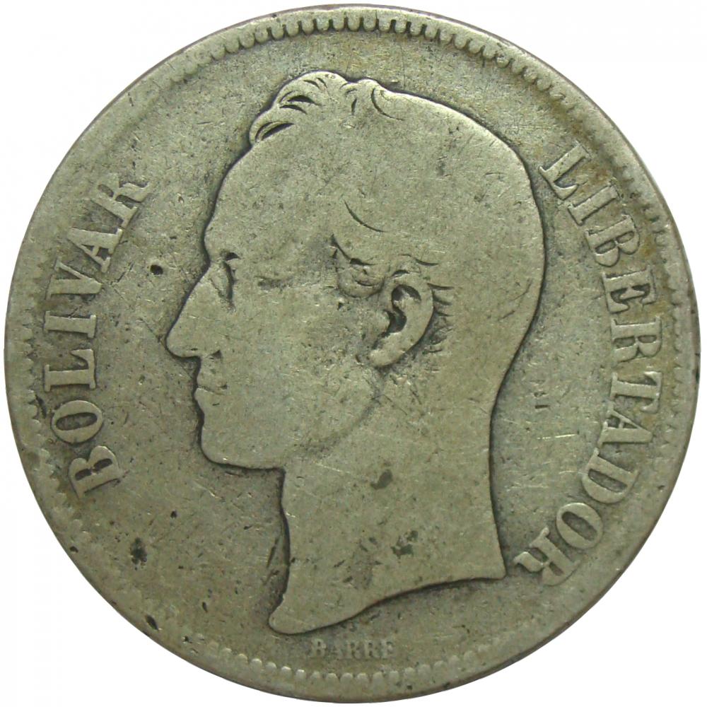 Moneda 5 Bolivares Fuerte 1888 2do 8 Alto  - Numisfila