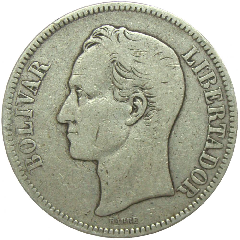 Moneda 5 Bolivares Fuerte Plata 1903  - Numisfila