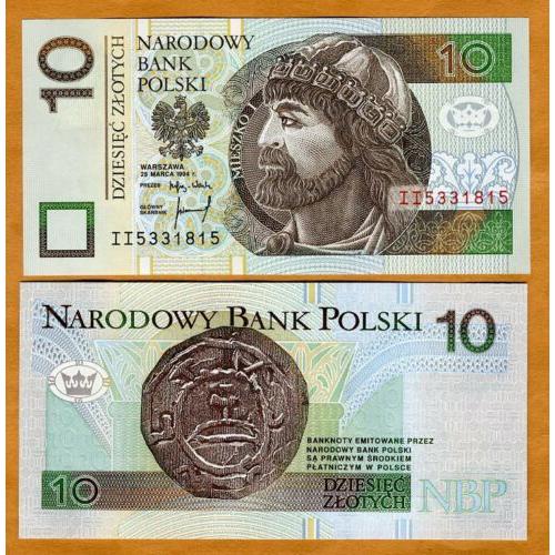 Billete Polonia 10 Zlotych 1995 Miecislao I  - Numisfila