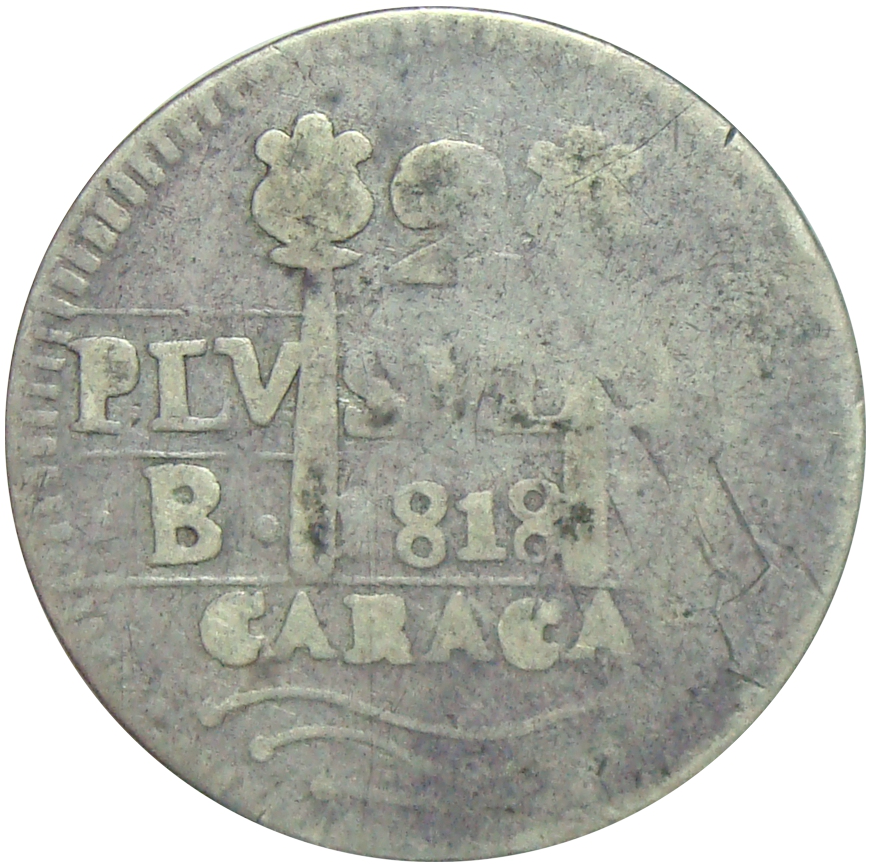 Moneda Provincia de Caracas 2 Reales 1818 Morillera  - Numisfila