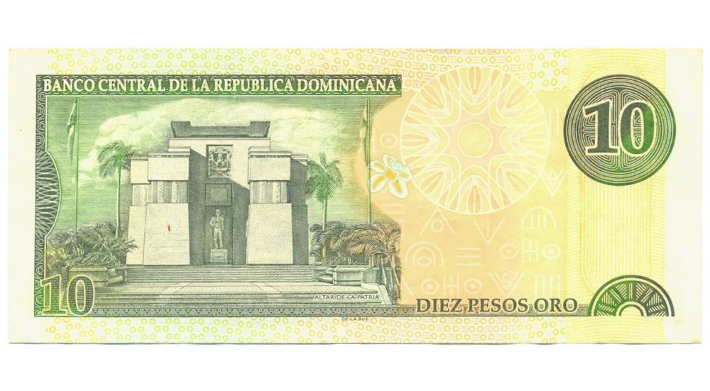Billete Rep Dominicana 10 Pesos Oro 2001 Mella  - Numisfila